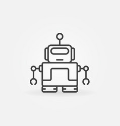 cute robot with antenna icon in thin line vector image vector image