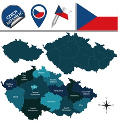 Czech republic map with named divisions vector