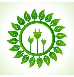 Eco plug inside the leaf background vector image vector image
