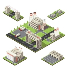 Factory territory isometric composition vector