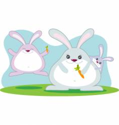 fat rabbit family vector image