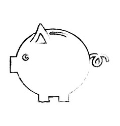 Figure nice pig to save coin currency vector