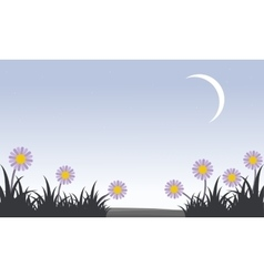 Flower with moon at spring landscape vector