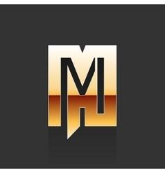 Gold Letter M Shape Logo Element vector image
