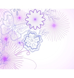 Hand-drawn flowers and butterfly vector image