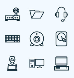 hardware outline icons set collection of hard vector image vector image