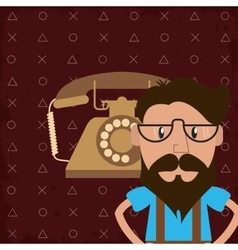 Hipster man and rotary telephone image vector