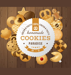 Homemade cookies round label vector
