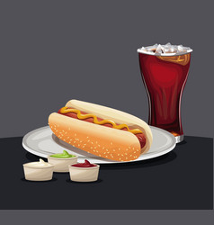 Hot dog glass of cola mustard and ketchup on a vector