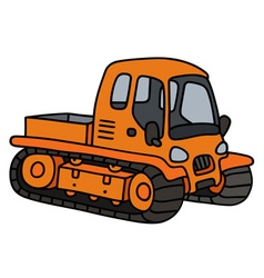 Orange tracked vehicle vector