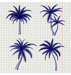 Palm sketches in ball pen style vector