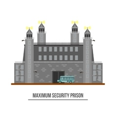 Prison exterior or jail building with towers vector