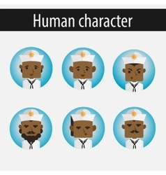 Set men african american character sailor vector