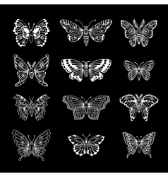 Set of Butterflies Decorative Isolated Silhouettes vector image