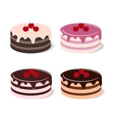 Set of different cakes vector image