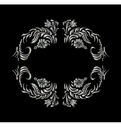 Silver flowers on black background vector image