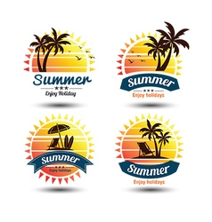 Summer label 4 vector