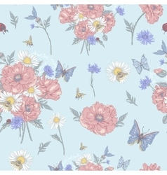 Summer vintage floral seamless pattern with vector