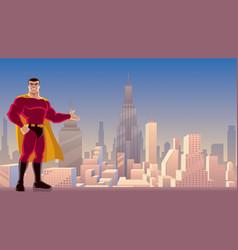 superhero presenting in city vector image vector image