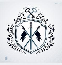 Vintage decorative emblem heraldic composition vector