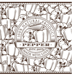 Vintage pepper label on seamless pattern vector