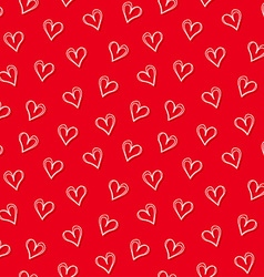 White love hearts with red background seamless vector image vector image