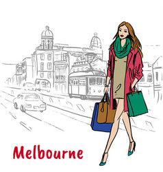 woman in melbourne australia vector image