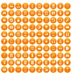100 gadget icons set orange vector