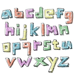 Colorful sketchy hand drawn lower case alphabet vector image