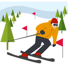 Mountain skier slides from mountain vector