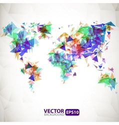 Abstract triangle world map with explosion vector