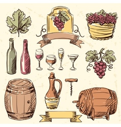 Wine vintage hand drawn set vector
