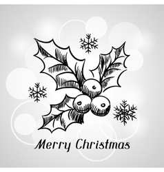 Merry Christmas hand drawn invitation card vector image
