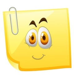 Yellow sticky note with happy face vector