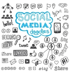 Social media doodles hand drawn design elements vector