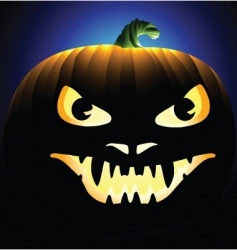 Scary face carved into pumpkin vector