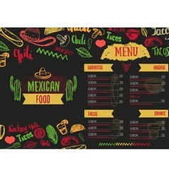 Vintage mexican food menu with lettering mexican vector