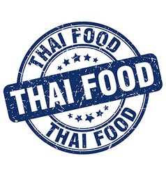 thai food blue grunge round vintage rubber stamp vector image