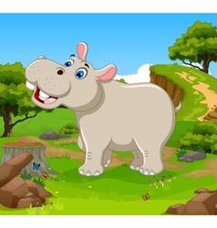 funny hippo cartoon in the jungle vector image
