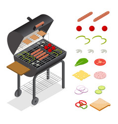 barbecue isometric view vector image vector image