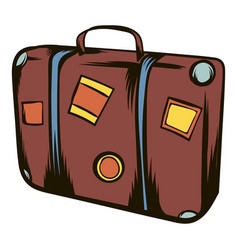 Brown travel suitcase icon cartoon vector