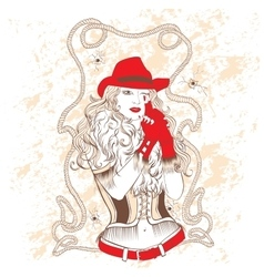 Cowgirl in a red hat and red gloves vector