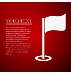 Golf flag flat icon on red background vector