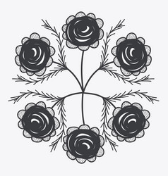 gray rustic roses icon vector image vector image