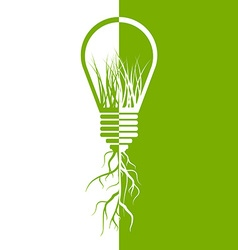 Green light bulb eco energy concept vector image