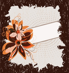 grunge frame with flowers vector image