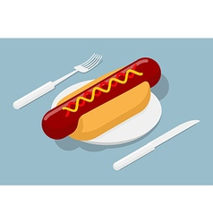 Hot dog on plate isometric 3D fast food Cutlery vector image