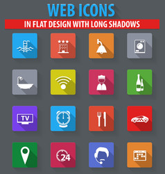 hotel icons set elegant series vector image