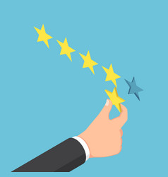 isometric businessman hand giving five star rating vector image vector image
