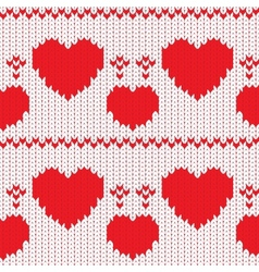 Knitted textile decorative valentine hearts vector image